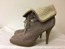 Aldo Women Taupe Fur Boots Leather Suede Ankle Lace Up heels shoes size EUR 40