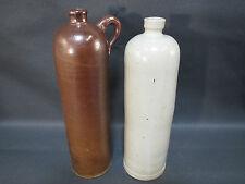 Lot de 2 anciennes bouteilles en grès terre déco chalet french old bottles