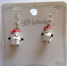 Brighton Marshmallow Snowman  Earrings crystals -white- red hat- Christmas