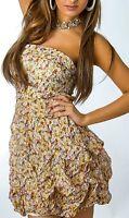 SeXy Miss Damen Bandeau Mini Kleid Sommer Flower geblümt XS-S beige bunt NEU