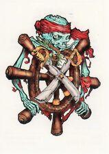 Temporary / Einmal Tattoo, Pirate Tattoo 4-10, Piratentotenkopf am Schiffsruder