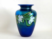 Orient & Flume Blue Iridescent Aurene Art Glass Vase Signed & Numbered Shaw