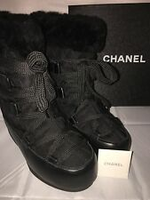 NEW! CHANEL SNOW / WINTER BOOTS High Boots Black Authentic Size 37 1/2