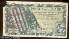 Ayuntamiento de PINEDA de SEGARRA 50 centimos @ Segarra - Lleida @