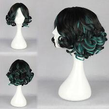 Damen Schwarz Grün Wig Kurz Gewellt Gelockt Mode Haar Cosplay Kostüm Perücke Wig