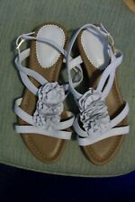 New Clarks Santa Rock Womens White Leather Wedge Sandals size 4.5