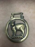Vintage Brass Horse Buckle Medallion Collectible Cat