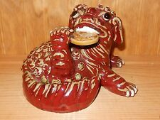 FOO DOG DRAGON WITH LUCKY COIN POTTERY STATUE