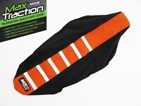 KTM SX SXF SX/F 2007-10 RIBBED GRIPPER SEAT COVER BLACK + ORANGE + WHITE STRIPES