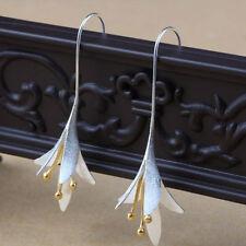 Fashion Elegant Women Ladies Silver Orchid Long Earrings Flower