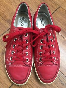 ECCO Leather Shoes SOFT Sneaker 37,5 38 Loafers RED Lace Ups