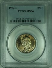 1952-S Washington Silver Quarter 25c PCGS MS66 Multicolored Toned Gem (30)