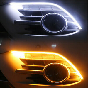 2pc 30/45/60cm Flexible LED Light Strip Tube Headlight DRL Sequential Switchback
