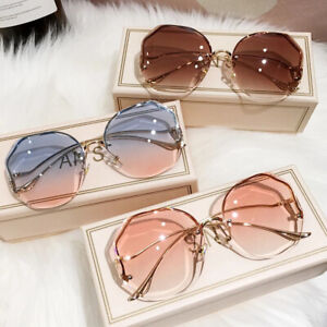Luxury Rimless Sunglasses Women Fashion Oversized Outdoor Gradient Shades UV400