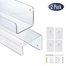 Clear Acrylic Floating Wall Shelves, 17 Inch Wall Bookshelf (2 Pack)