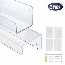 Clear Acrylic Floating Wall Shelves, 17 Inch Wall Bookshelf (2 Pack)