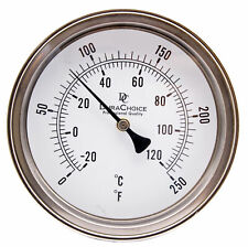 """Industrial Bimetal Thermometer 3"""" Face x 9"""" Stem 0-250F w/Calibration Dial"""