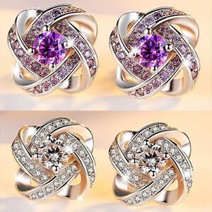 Gorgeous Flower Stud  Earrings Women 18K Gold Jewelry Cubic Zircon A Pair/set