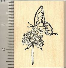 Butterfly on milkweed rubber stamp H8816 wood mounted