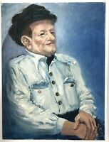 """Vintage 18""""x24"""" oil painting """"Joe"""" by Ana Sauer of Indiana, Blue Portrait of Man"""