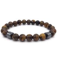 Men 8mm Matte Agate Tiger Eye Beads Hematite Natural Stone Bracelets Jewelry