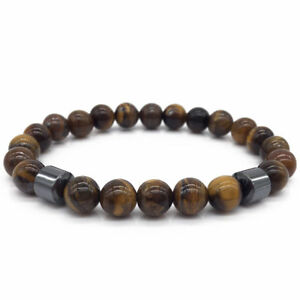 Men 8mm Matte Agate Tiger Eye Beads Hematite Natural Stone Bracelets Jewelry