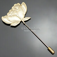 Fab Gold Lotus Rose Flower Cherokee Lapel Brooch Tie Hat Scarf Stick Pin Badge