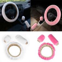 Interior Woolen Steering Wheel Cover Handbrake Case 3Pieces/Set Car Soft Wool