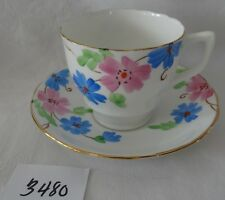 DELPHINE antique Bone China antique Cup & Saucer Pink Blue hand painted flowers