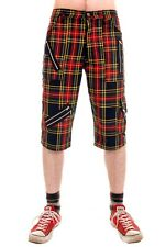 Mens Punk Multi Tartan  Zip Shorts. Rock