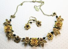NWT $268 Michal Negrin Black & Gold Color Roses Crystal Necklace & Earrings Set