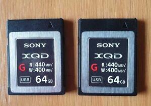2 x Sony 64GB XQD Flash Memory Card - G Series (Read 440MB/s and Write 400MB/s)