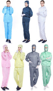 Anti-Static Dust-Proof Protective Suits Coveralls Laboratory Clothes 7 Colors