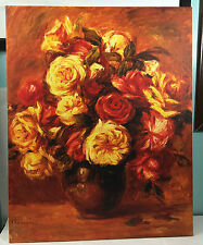 "24""x 30"" RENOIR BUNCH OF FLOWERS IN VASE REPRO ON CANVAS ART PRINT WALL HANGING"
