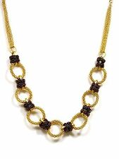Metal Chain Two Tone Mesh Ring 15 1/2 Inch Necklace Set By Kole Design