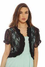 Chic Black Lace Women Shrug Sweater Cardigan Bolero Jacket Short Sleeve Size XL