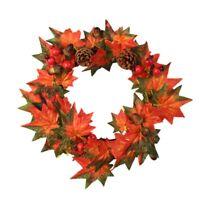 Maple Leaf Berry Wreath Halloween &Christmas Door Home Decor S9B1