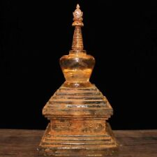 """10"""" Tibet Buddhism Temple Fane Old Crystal Carved Buddha tower stupa Sculpture"""