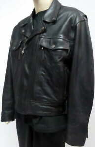 Harley-Davidson Heavy Black Leather Motorcycle Jacket Mesh Quilt Liners Size XL