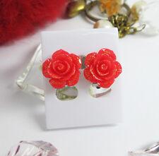 Red Flower Floral Rose Glitter Cluster Clip-On Earrings Fashion Women Kids Girl