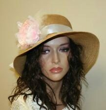 Womens Summer Hat with Flower, Plaited Beach Hat, Wide Brim Hat - Beige