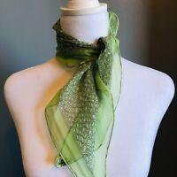 "Burmel Vintage Green Sheer White Dot Hand Rolled Edges Japan Scarf 44"" x  22"""