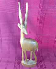 Hand Carved Wood African Gazelle Impala Antelope Sculpture Wooden Figurine