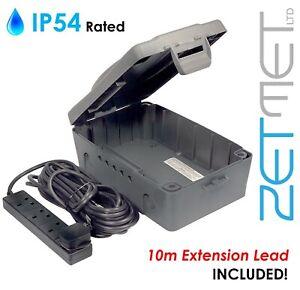 Masterplug Outdoor Weatherproof Garden Cable Box + 4 Socket 10m Extension Lead