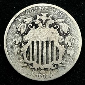 1867 Shield Nickel 5c USA Type Coin Nice Details No Rays, #2.3
