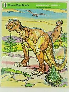Vintage Rainbow Works Prehistoric Animals T-Rex Dinosaurs Tray Puzzle 1975
