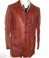 VINTAGE 1970's MENS RETRO TAN LEATHER JACKET MOD FIGHT CLUB 40-42