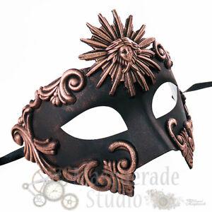Mens Greek Roman Sun God Warrior Costume Venetian Masquerade Ball Mask [Copper]