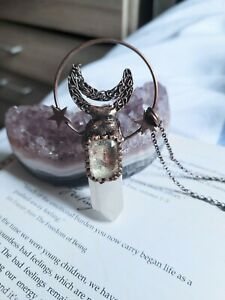 clear Quartz Raw Stone point celestial Necklace crystal master healer