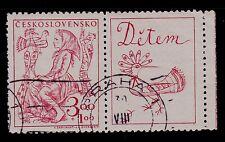 CZECHOSLOVAKIA SCOTT# B165 (WITH LABEL)   USED   CHILD WELFARE TOPICAL